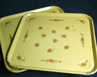 Set of 2 Vintage Metal Yellow Toleware Floral Roses Trays Chippy Shabby Square
