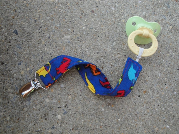 Fabric Pacifier Clip- Dinosaurs
