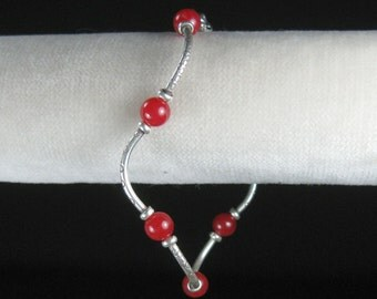 Silver bracelet and raspberry jade, silver and red bracelet, Karen Hill tribe silver