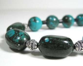 Long Turquoise necklace with Onyx & Sterling silver, Natural turquoise necklace