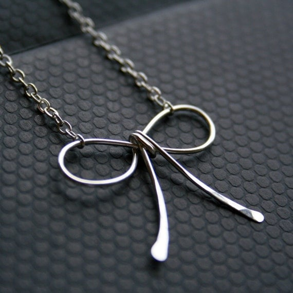 """SALE 25% off with code """"holiday11"""" for black friday and cyber monday -- SILVER BOW Necklace -- sterling silver -- free shipping"""