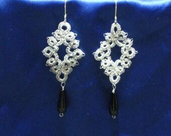 Fine Silver Tatted Dangle Earrings