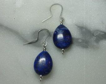 Lapis Lazuli Solitaire Earrings