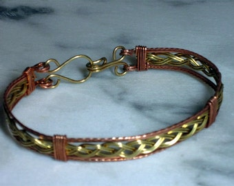 Copper and Brass Braided Bracelet