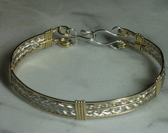 Gold Bracelet with Dual Silver Braids