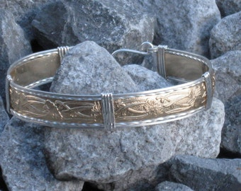 Gold and Silver Pattern Wire Bracelet
