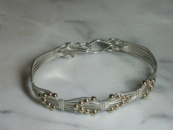 Sterling Silver Bracelet with Interwoven 14k Gold-Filled Beads