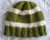 Green and White Stripe Baby Hat - Organic Merino Wool