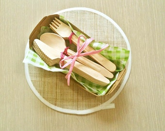 Large size -Wooden disposable cutlery set   for crafting, stamping, painting