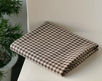 Brown Gingham Cotton Linen Blend (Wide 145cm) - 1 Yard