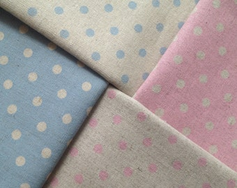 8 Polka Dot Linens - Fat quarter Bundle