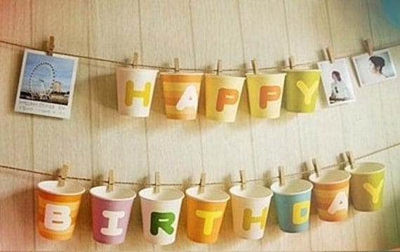 alphabet initial paper cups for party