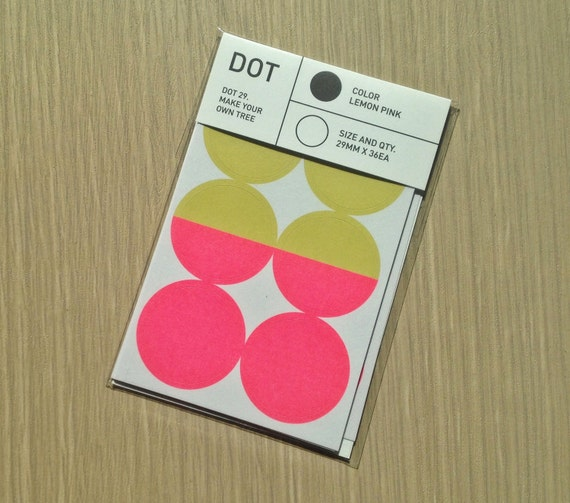 Colour Dot Stickers 29mm  - Light Mustard / Pink