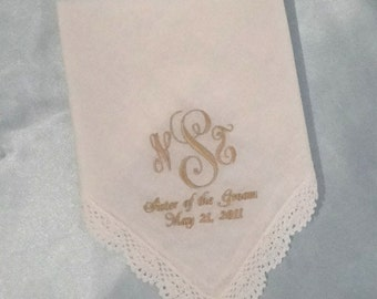 Wedding Handkerchief With Lace Edge-White or Ivory-Personalized-100% Cotton