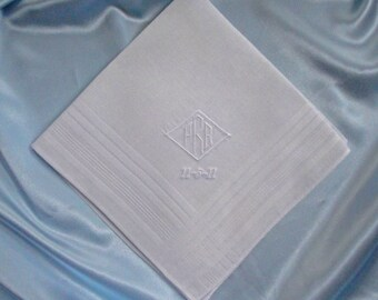 Personalized Men's White Cotton Blend Handkerchief Custom Embroidered Monogram