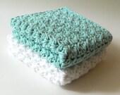 Cotton Dishcloth Set - Robin's Egg Blue, White
