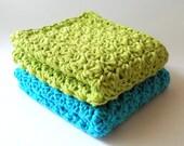 Cotton Dishcloth Set - Lime Green, Turquoise