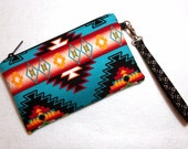 Southwestern Wristlet Navajo Fabric - 2 Card Slots - Clutch - Pro Padding & Zipper - Native American Fabrics - Tribal