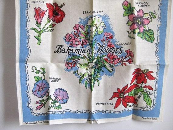 Irish Linen Tea Towel never used Bahamas Flowers
