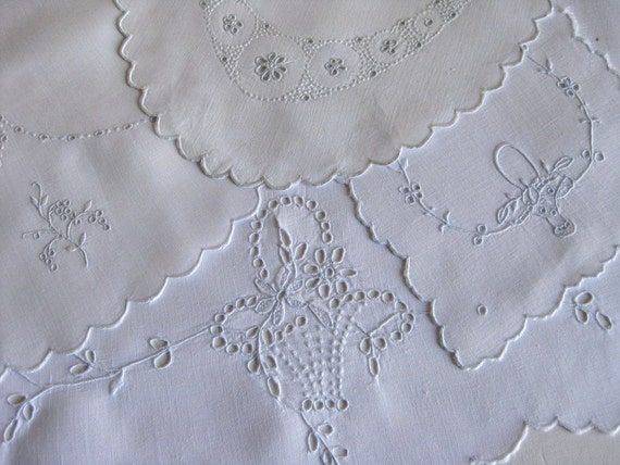 4 White Linen Madeira Embroidered Doilies, Tray Cloths, Table Round