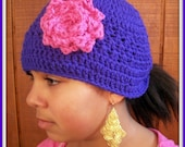 Crochet beanie hat with flower CUSTOM you pick the colors 0-6 6-12 12-24 2t 3t 4t 5t 6 7 8 9 youth teen adult