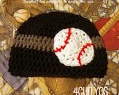 Crochet hat beanie baseball softball MLB custom 0-3 3-6 6-12 2t 3t 4 5 youth teen adult boy girl