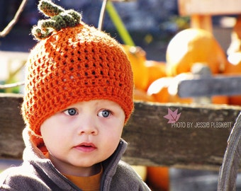 Crochet pumpkin hat custom 0-3 3-6 6-12 12-18 18-24 month 2t 3t 4t 5 6 7 8 9 child  youth adult