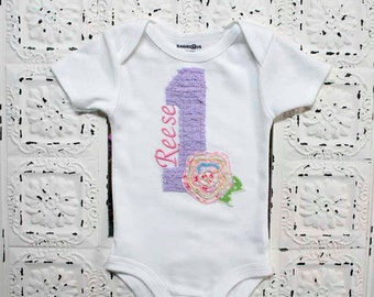 NEW-Shabby Bebe Vintage Chic Style Birthday Shirt-Raggy Frayed Flower- Free Personalization as ALWAYS
