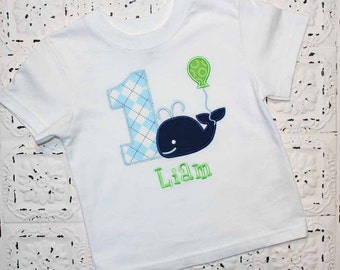 Little blue preppy whale birthday shirt