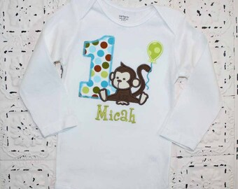 Girls or Boys Tiny Happy Monkey First Birthday Shirt- Boys or Girls Colors Avail- Free Personalization