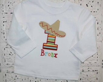 It's a Fiesta, Sombrero Cinco de Mayo  Birthday Number Shirt-All Numbers or Letters Available- Free Personalization