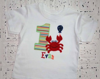 Boys or Girls Crab Birthday Applique Shirt  Free Personalization-- All birthday numbers are available