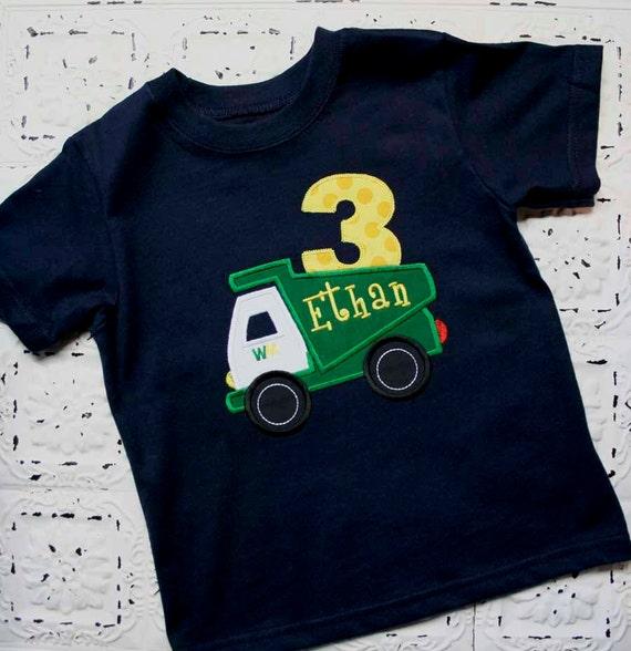 BEEP BEEP   Custom Garbage Truck Applique Birthday Shirt-First Birthday, Second Birthday, Third Birthday number or Initials, Monogrammed