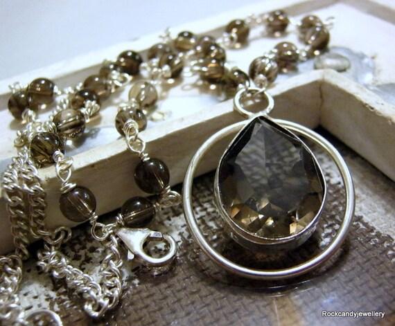 Coco...Sterling Silver Smokey Quartz Gemstone Pendant Necklace