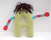 Letter A - Alphabet Plush Toy Knitting PATTERN - Andre
