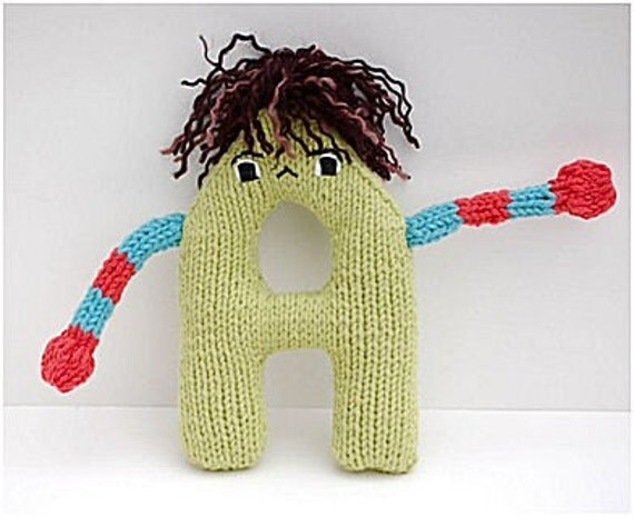 Letter A Alphabet Plush Toy Knitting PATTERN Andre