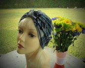 Grey Blue Abstract Knit Chemo Turban Hat Hijab-Free Shipping in the USA