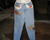 denim jeans destroyed recycled upcycled with vintage lace