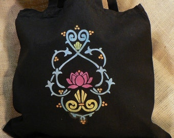 Medium Black Tote w/Lotus Design