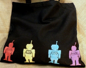 Medium Black Tote w/Robot Design