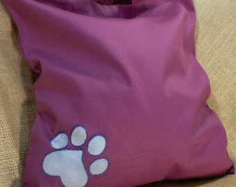 Medium Purple Tote w/Blue Paw Print