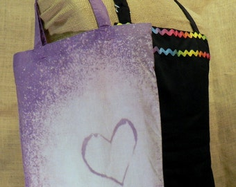Small Purple and Pink Tote with Heart Bleach Pattern
