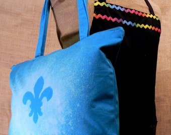 Large Blue Zippered Tote with Fleur de Lis Bleach Pattern