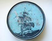 Vintage Blue Tin with Ship Silhouette