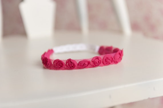 Newborn baby hot pink floral headband photo prop READY TO SHIP