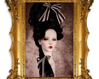 Rococo Black Powdered Wig -La Presley-Elegant Gothic Victorian Marie Antoinette style wig by Kathleen Marie