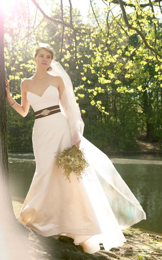 """Duchess Satin Mermaid Wedding Gown, """"Evalyn-Marie"""", Sweetheart neck strapless bustier, train, Mix and Match Customizable"""