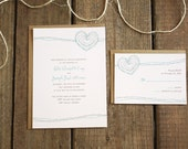 Custom Wedding Invitations Rustic - Barbed Wire Hearts - Sample