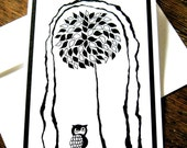 Black and White 'Owl Tree'  Blank Card