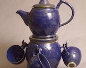 Handmade Wheel Thrown Tea Set - Custom - Teapot with Cookie Jar and Four Cups